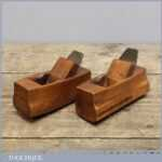 2 Small Vintage Pattern Makers Beech Wood Planes with Convex Soles