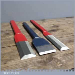 3 Axminster All Steel Forged Bevel edged Chisels + Firmer - Carpenters Tools