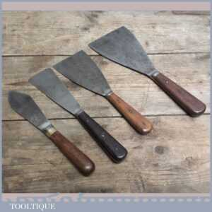 3 Quality Rosewood Handled Scrapers + Putty Knife - Painting & Decorating Tools