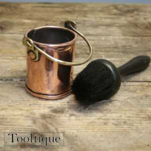 Antique Round Paint Brush and Copper Holder - Vintage Woodworking Tool