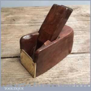 Antique Wooden Bullnose Plane with Brass Front - Old Woodworking Tool