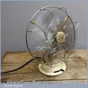 Early Vintage Retro Limit 240V Electric Desk Fan - Industrial Salvage PAT Tested