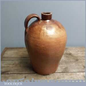 Large Antique Mid 19thC Stoneware Flagon, Brown Salt Glazed Bottle. 13 Tall
