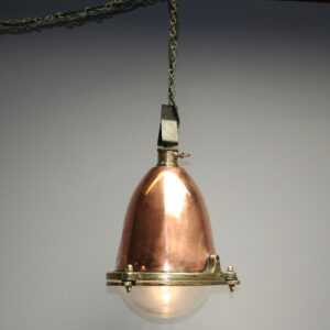 Original Vintage Copper Ship Light - Industrial SteamPunk Hanging Flood Light