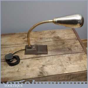 Rare Art Deco Vintage Industrial Goose Neck Desk Lamp - Anglepoise Alternative