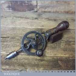 Very Rare Antique Millers Falls USA No:1 Early Frame Hand Drill Pat Dated 1877