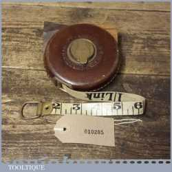 Vintage Chesterman Leather Bound 33ft Measuring Tape - Good Condition