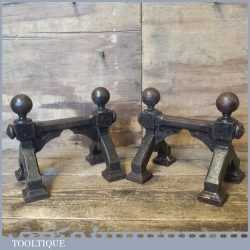 Antique Pair Cast Iron Fireside Andiron Stands Dogs - Holds Pokers Fire Irons etc