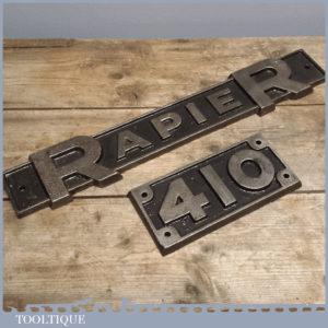 Rare Industrial Vintage Crane Sign - RapieR 410 Cast Iron Name Plates