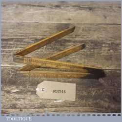 "Vintage Rabone No: 1377 Boxwood Brass 24"" Folding Ruler - Good Condition"