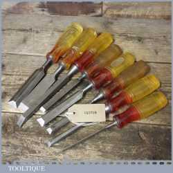 "8 No: Vintage Marples Shamrock Bevel Edge Firmer Chisels 1/8"" to 1"" - Sharpened"