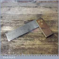 "Vintage F. Craven Carpenters Rosewood Brass 6"" Try Square - Good Condition"