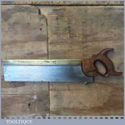 """Rare Antique c.1840 I Hill Late Howel 14"""" Brass Back Carcass Saw 11 TPI - Sharpened"""