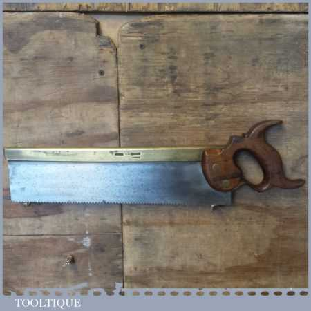 "Rare Antique c.1840 I Hill Late Howel 14"" Brass Back Carcass Saw 11 TPI - Sharpened"