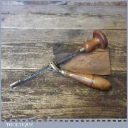 Rare Antique Surgeons Medical Archimedes Drill Boxwood Brass Fittings
