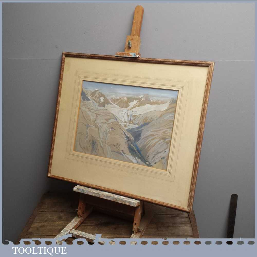 Vintage Modern British Art Tempra Painting of Mountainous Scene of the Engelburg Valley by Rosalie Winifred Thurston (1905-1991)