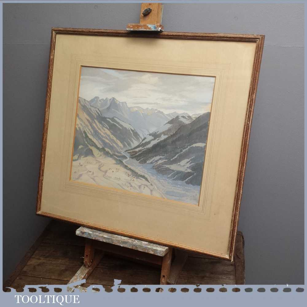 Vintage Framed Modern British Art Tempra Painting of Mountainous Scene of OberGabelhorn by Rosalie Winifred Thurston (1905-1991)