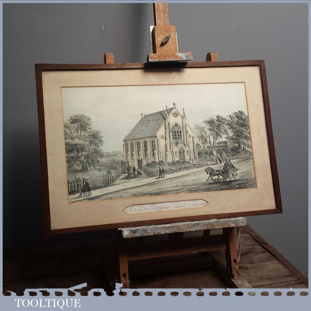 Original 19th Century Antique St. John's Presbyterian Church Tottenham Coloured Lithograph