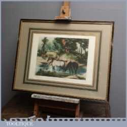 Antique 'Horses Watering' Framed Print by J.J.E Jones Engraved by W Fellows