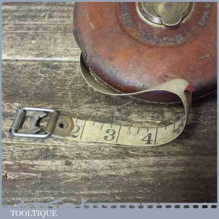 Vintage Rabone Chesterman 66 ft leather bound tape measure in good working order. This has been opened fully to ensure it has no damage