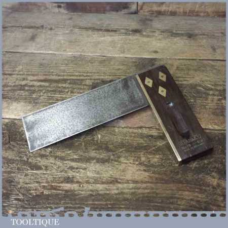 """Vintage Stanley No: 19 Carpenters Rosewood Brass 6"""" Try Square"""