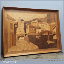 Vintage Retro Inlaid Marquetry Picture In Frame of Boats & Buildings