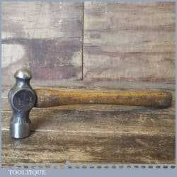 T12636 - Vintage ball pein hammer stamped with crowsfoot broad arrow and dated 1952, with wooden handle and in good used condition.