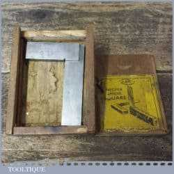 Vintage boxed Moore & Wright engineer's precision set square