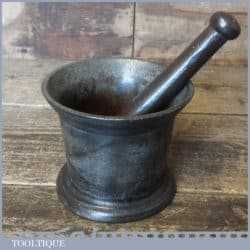 Rare Antique Kitchenalia Cannon Style Cast Iron Mortar And Pestle