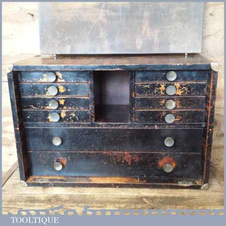 Beautiful Vintage 10 Draw Engineer's Handmade Dovetailed Tool Chest
