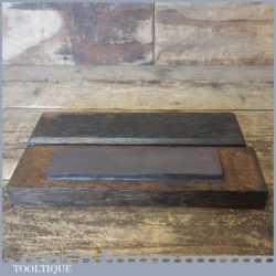"Vintage 7"" X 1 ¾"" Medium Grit Oil Stone Mahogany Box - Lapped Flat"