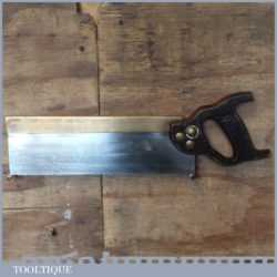 """Vintage W. Tyzack Sons & Turner Ltd 12"""" brass back tenon saw with 11 tpi, fully refurbished and sharpened cross cut ready for use"""