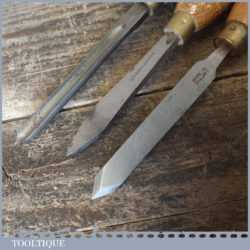 3 No: Vintage Wood Turning Chisels Beech Handles - Sharpened Honed