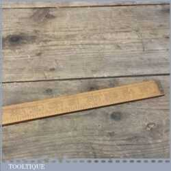 Antique Quality Drapers Boxwood & Brass Yardstick Ruler - Tailors Tool
