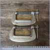 """Vintage Pair Of Record Junior 2 ½"""" G Clamps - Good Condition"""