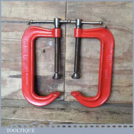 """Vintage Pair Record 121-8"""" Engineer's Heavy Duty G Clamps - Good Condition"""