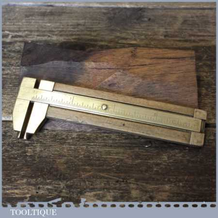 Vintage Internal & External Imperial Boxwood Brass Caliper Ruler