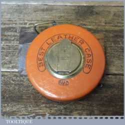 Vintage German Made 50ft Leather Bound Winding Tape Measure
