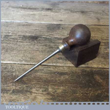Vintage Leatherworking Beechwood Shouldered Pricking Awl - Good Condition