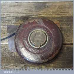 Vintage No: 4151 John Rabone 50ft Leather Bound Steel Tape Measure