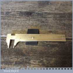 Vintage Imperial Metric Internal External Brass Caliper Ruler - Good Condition