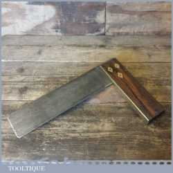 """Vintage Carpenters 9"""" Rosewood Brass Try Square - Good Condition"""