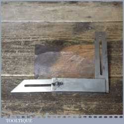 """Vintage 6"""" Steel Combination Try Square And Bevel By H.M.M Pat 497450"""