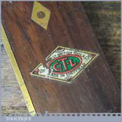 """Vintage GTL Carpenter's 7 ½"""" Mahogany Brass Try Square - Good Condition"""