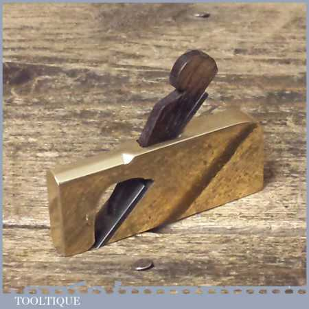 Vintage Instrument Maker's Miniature Gunmetal Rabbet Plane - Rosewood Wedge