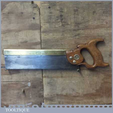 "Vintage W Tyzack & Turner Nonpareil 12"" Brass Back Tenon Saw - Sharpened"