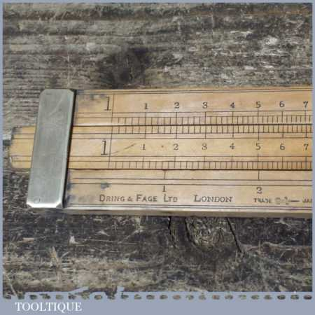 "Rare 24"" Antique Dring & Fage London Alcohol Slide Rule - Boxwood Brass"