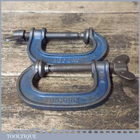 """2 No: Vintage Record 2"""" Heavy Duty G Clamps - Good Condition"""