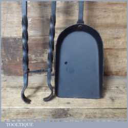 Vintage Blacksmith Made Wrought Iron Coal Tongs And Shovel