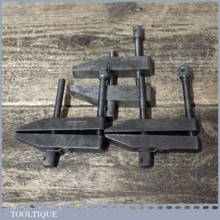 Set 3 Engineering Tool Maker's Clamps Two Moore & Wright - Good Condition